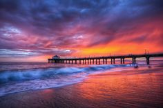 Summer Sunset Manhattan Beach by Tom Sebourn, via 500px