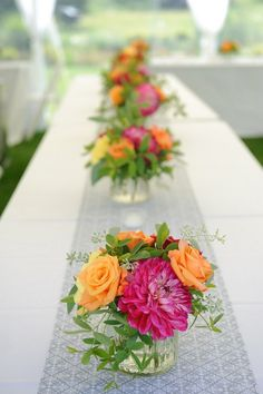 idea, orang, color, table seating, photo galleries, flowers, centerpieces, long tables, dahlia
