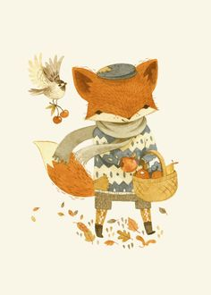 Adorable Children's Book Illustrations by Teagan White...will see if these print out well enough to use in her nursery autumn, white style, ador children, art prints, book illustrations, apples, foxes, children books, fox art