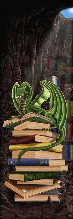 Bookmark: A dragon with his treasure.