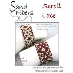 Peyote Pattern  Scroll Lace Peyote Cuff / Bracelet   by SandFibers, $10.00
