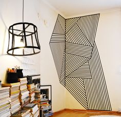 Wall decoration made with black plastic tape, size...