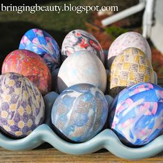 Eggs dyed w/ silk ties. Who knew!