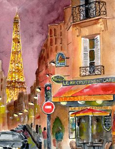 Evening in Paris Greeting Card by Sheryl Heatherly Hawkins