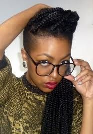 shaved side w/box braids... I'm so in love with this style