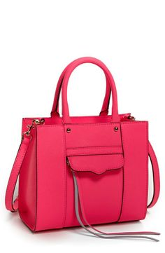 Bright Pink Leather Tote