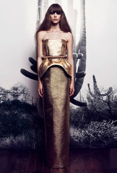 Gold strapless gown. AW2012. By Ellery.