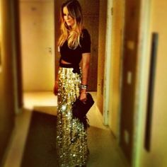 black crop top and gold sequin maxi skirt. how fabulousss