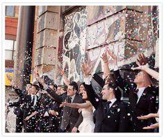 wedding parties, idea, first kiss, wedding confetti, group shots, wedding photos, happiness, walmart, kisses
