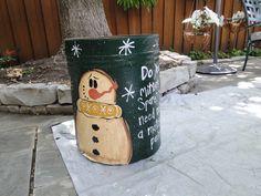 Trashy Treasures - Frosty trash can...garage sale find