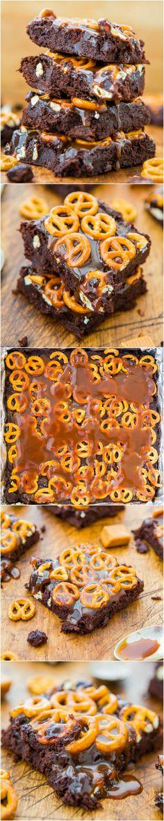 scratch browni, salt caramel, bake, caramel pretzel, caramels, averiecookscom, recipes using pretzels, fudgi browni, salted pretzel brownies