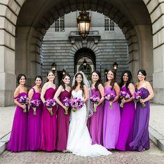 purple bridesmaid dresses #ombre