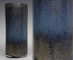 23.5cm tall Isle of Wight Studio Glass 'Azurene Black' vase