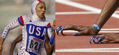 Remember when Flo Jo ran? Here she is with sleek hood zooming down the track. But even without hood, hair flying behind her, she was fast. And those nails!!!