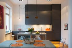 lamps in this small kitchen