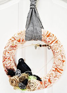 front door wreaths, burlap flowers, fabric flowers, fall projects, front doors, fall decorating, fall wreaths, fabric wreath, halloween wreaths