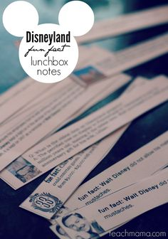 disneyland fun fact lunchbox notes     Get kids ready for the trip to Disneyland, or just wow them with cool Disney facts. A cool  creative way to get kids (and adults!) reading about the most magical place on earth!   #disneysmmoms #disneyside