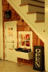 Playhouse under the stairs playhous, kid playroom, basement stairs, kids clubhouse, chalkboard, under stairs, guest book, apron, window boxes