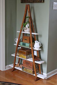 Turn wood crutches into modern shelves in furniture diy  with repurposed shelves repurposed shelf Crutches
