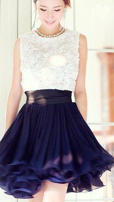 Navy skirt & White top