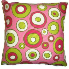 "Hot Pink Pillow Cover 18"" X 18"" Hot Pink with Dots, Circles, Red, Lime Green, and White"
