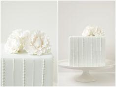 pure white, modern wedding cake