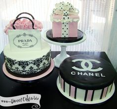 logo, fashionista cake, box cake, lingeri parti, prada cake, chanel bridal shower cakes, bridal showers
