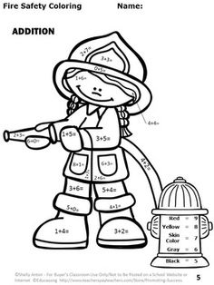 Fire Safety No Prep Math Packet - Your students are going to have so much fun practicing their addition and subtraction facts (up to 10) with this no-prep fire math packet! Activities include coloring, matching, and cut and paste. Students will love the adorable graphics with firefighters, hydrant, extinguisher, dalmatian, and more! This 54 page packet is in black and white for more economical printing. For your convenience, answer keys are provided!