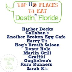 Top 10 places to eat in Destin, Florida! We've been vacationing in Destin since 1998, and these are some of our favorite places to eat! Don't miss the follow-up pin with 5 additional places to eat: http://www.pinterest.com/pin/266416134181401245/ !!!