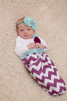 Plum purple chevron baby gown aqua accents by StorkNestDesigns, $33.00