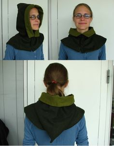 London Hood - tutorial to make authentic medieval hood. This hood could work with the cape I want to make. Or... I could maybe make a hoodless cape plus a hood with its own mini cape as a separate item...documentation? Year?
