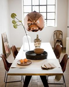 Dining room #brown #copper #lamp #chairs dining rooms, chair, interior, tom dixon, light fixtures, pendant, lamp, dining spaces, dining tables