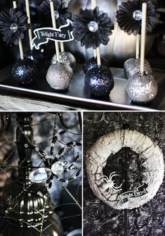 halloween parties, cakes, autumn, halloween party ideas, cake pops, glitter cake, parti idea, black, party lights