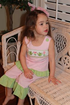 Smocked watering cans and flowers capri set