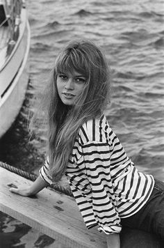 Brigitte Bardot wearing classic stripes