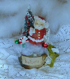 Vintage Spaghetti Santa Believe Centerpiece by treasured2 on Etsy, $26.00