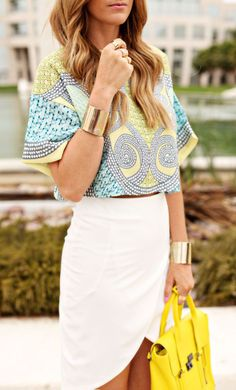 Cropped skirt, summer vacations, crop tops, fashion styles, summer outfits, summer colors, office style, neon yellow, shirt