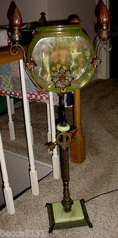Exquisite Lighted Antique Victorian Fishbowl Stand w Vaseline Glass | eBay