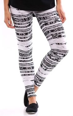 Deb Shops Legging with Tribal Stripe Print $12.00