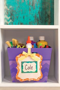 Looking for a stylish way to display your student's supplies? Why not add an easy label onto a basket and call it a day? We think it looks great!