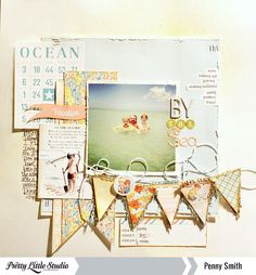 beach layout by Penny Smith, link goes to the old Pretty Little Studio blog, not to the layout