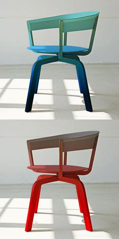 Ombre wooden swivel chairs - Werner Aislinger for Moroso