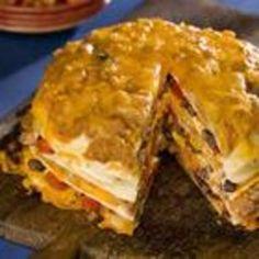 Seven Layer Tortilla Pie tortilla pie, mexican, food, pies, yum, pie recip, pie allrecipescom, tortillas, layer tortilla