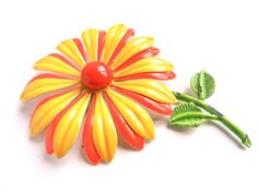 Large Enamel Flower Brooch  Bright Yellow & by MaejeanVINTAGE, $12.00
