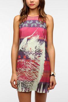 Sparkle & Fade Silky Wolf-Print Dress  $49.00