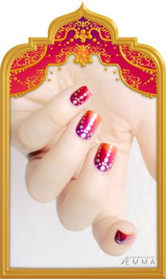 Bollywood nails - Orange, red, purple and gold gradient / fade with dots nail art design