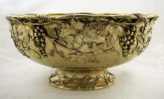 Whiting Sterling Silver Gilt Grape & Leaf Punch Bowl c1890 138oz - antiques - serving dish