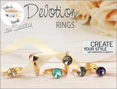 'Take a Make Break' and learn how to make these beautiful SWAROVSKI ELEMENTS 'Devotion' rings. Make it from only £3.38  http://www.beadsdirect.co.uk/gallery/detail/devotion-rings/