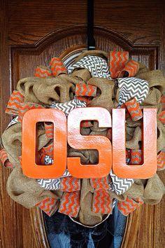 Oklahoma State University Burlap Wreath with Orange and White Chevron Burlap Ribbon and Orange OSU Letters