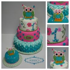 I love the colors on this one.  In a glut of owl cakes, this one stands out. Ella By jjaj on CakeCentral.com